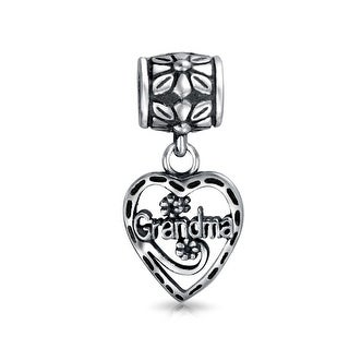 Bling Jewelry Grandma Vintage Style Heart Silver Dangle Bead Charm