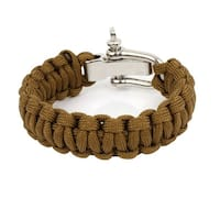 Brown Nylon Quick Release Weave Cord Survival Bracelet Shackle Camping Kits