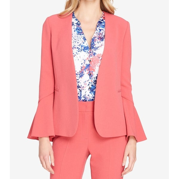Tahari by ASL Pink Womens Size 14 Open Front Bell Sleeve Jacket