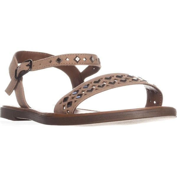 MG35 Delany Studded Flat Sandals, Taupe