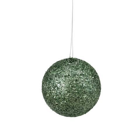 "Holographic Glitter Emerald Green Shatterproof Christmas Ball Ornament 4.75"" (120mm)"