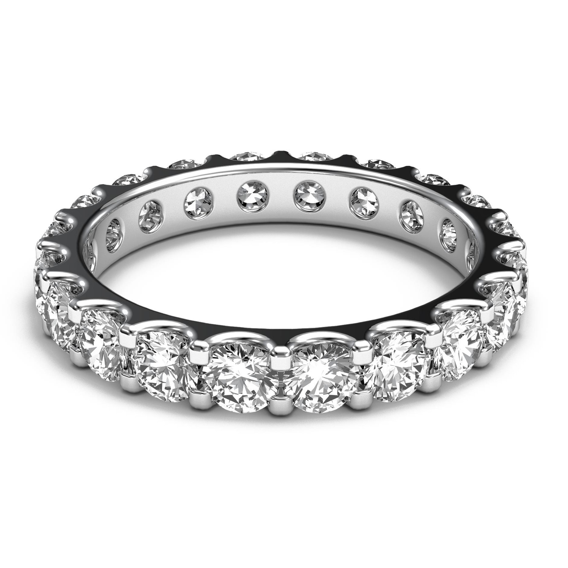 D-Color 2.00Ct Top Quality Round Shape Solitaire Wedding Ring In 14KT White Gold