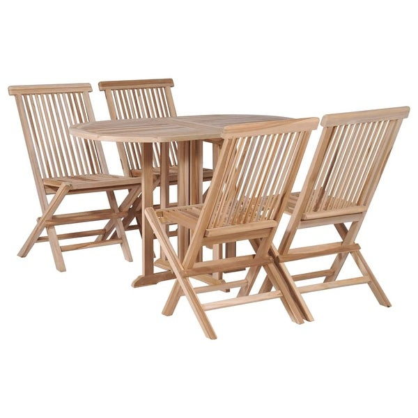 Shop VidaXL 5 Piece Folding Outdoor Dining Set Solid Teak