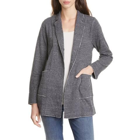 Eileen Fisher Women's Jacket Gray Size XS Snap Button Closure Cotton