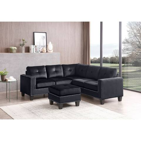 Nailer Velvet Nailhead Sectional Sofa