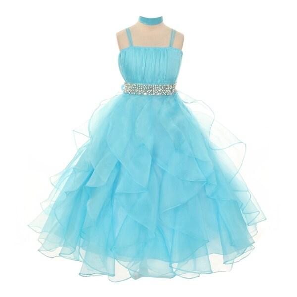 a9c2ec945d9 Shop Chic Baby Girls Aqua Organza Ruffle Flower Girl Pageant Dress 8-18 - Free  Shipping Today - Overstock.com - 18165484