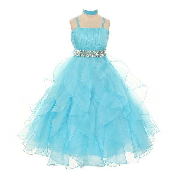 7dfb4bda1 Shop Chic Baby Little Girls Aqua Organza Ruffle Flower Girl Pageant Dress  4-6 - Free Shipping Today - Overstock - 18175238