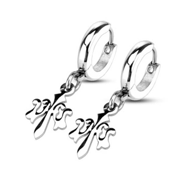 Pair of Stainless Steel Hoop Earrings with Dangling Fleur De Lis