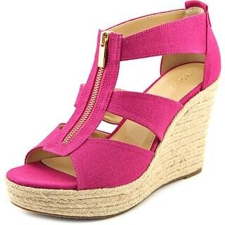Michael Michael Kors Damita Wedge Women Open Toe Canvas Pink Wedge Sandal