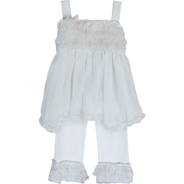Isobella & Chloe Baby Girls Ivory Cream Sugar 2 Pcs Pant Outfit Set 12-24M