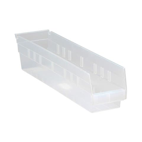 "Offex Clear View Polypropylene Economy Shelf Bin 17-7/8"" x 4-1/8"" x 4"" - 20 Pack"