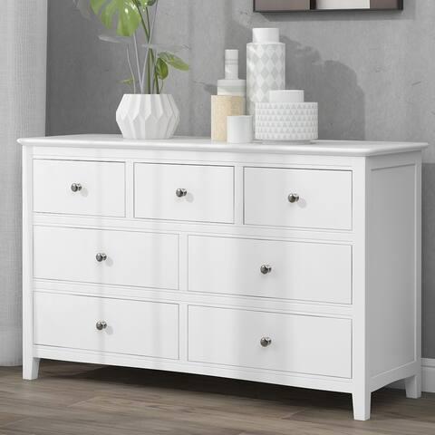 Nestfair White 7-Drawer Solid Wood Dresser