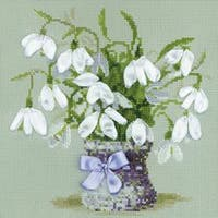 """Snowdrops Counted Cross Stitch Kit-8""""X8"""" 14 Count"""