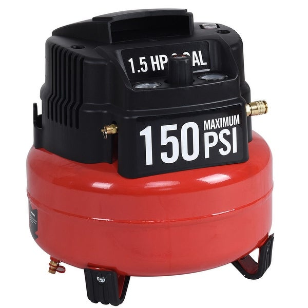 Gymax 6 Gallon 150 PSI Oil-Free Pancake Air Compressor 1.5 HP Motor Portable - red + black