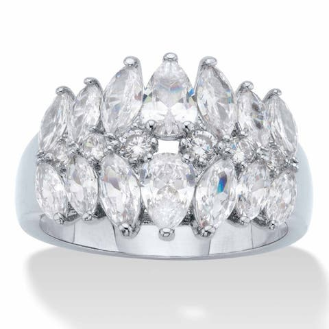 Platinum Plated Pear and Marquise Cut Cubic Zirconia Anniversary Ring