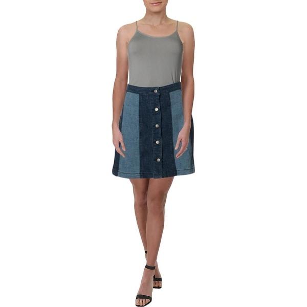 Rebecca Minkoff Womens Beatty Denim Skirt Button Front Colorblock - 4
