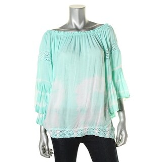 Surf Gypsy Womens Crochet Trim Tie-Dye Pullover Top