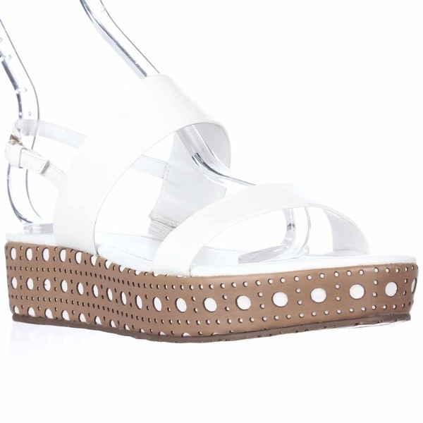 Kate Spade Tasely Two Band Platform Sandals, White Vachetta