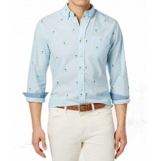 Tommy Hilfiger NEW Blue Mens Size XL Palm Embroidered Button Down Shirt