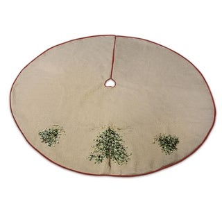 "52"" Glittery Gold Ribbon & Bells Embroidered Christmas Tree Skirt"