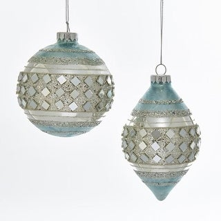"""Set of 6 Icy Blue and Silver Colored Glittered Ball and Finial Glass Ornaments 3.93"""""""