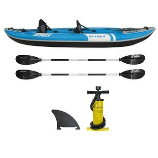 Driftsun Voyager 2 Person Inflatable Kayak - Complete with All Accessories, Paddles, Seats, Double Action Pump and more