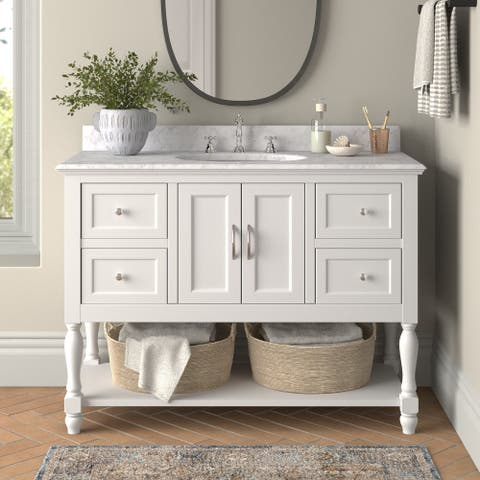"""KitchenBathCollection Beverly 48"""" Bathroom Vanity with Carrara Marble Top"""