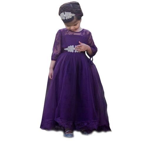 99644afeefb Little Girls Eggplant Purple Sash Tulle Lace Gabriella Flower Girl Dress