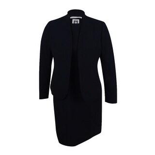 Anne Klein Women's Shawl-Collar Sleeveless Sheath Dress Suit (2, Black) - Black - 2