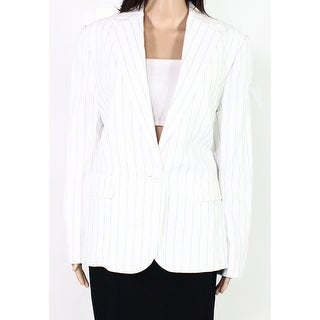 Lauren by Ralph Lauren Women Blazer Jacket White Blue Size 10 Pinstripe