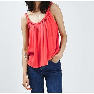 TopShop NEW Pink Womens Size 8 Solid Braid Neckline Swing Cami Top
