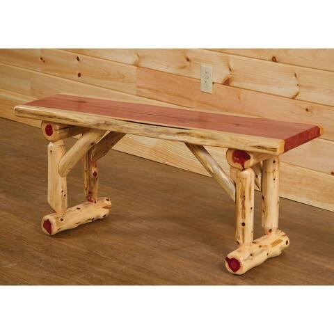 Red Cedar Log - Slab Dining Bench