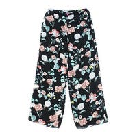 Vince Camuto Black Womens Size 8 Floral Printed Pull On Pants