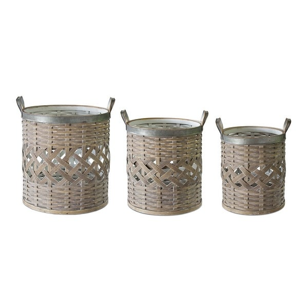 Set of 3 Stylish Wicker Willow Baskets - N/A