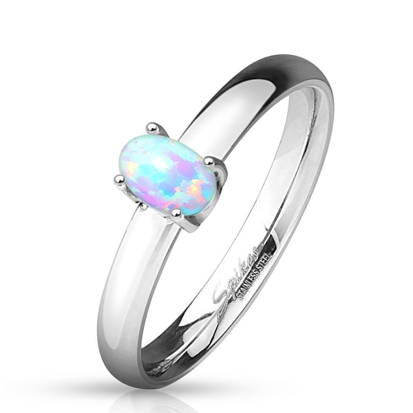 Oval Opal Prong Classic Dome Stainless Steel Engagement Ring