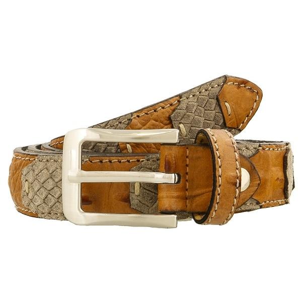 Renato Balestra LEO TAUPE E MARRONE Brown/Taupe Leather Mens Belt-38in