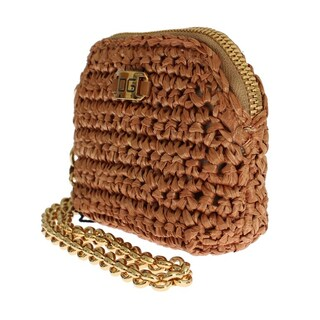 Dolce & Gabbana Beige Raffia Chain Wristlet Clutch Wallet Bag