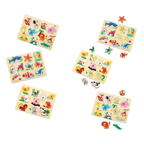 Wooden Peg Puzzle With Rack (Set Of 3)