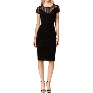 Calvin Klein Womens Petites Party Dress Sheer Sleeved Pleated Pattern