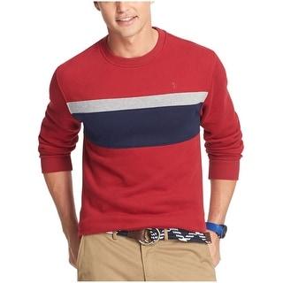 Izod Sueded Fleece Chest Striped Crewneck Sweatshirt Red Dahlia X-Large