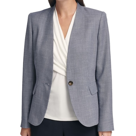 DKNY Women's Blazer True Muted Blue Size 16 Faux-Denim Collarless