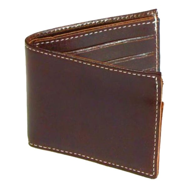 "Mascorro Men's Biker Wallet Premium Slim Bi-Fold Genuine Brown Leather CP330 - 4.5"" x 3.5"""