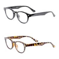 Retro Oval Reading Glasses- 2 Pair Pack - Black/Tortoise