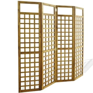 vidaXL Solid Acacia Wood 4-Panel Room Divider