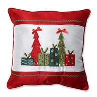 "16.5"" Red Christmas Trees and Presents Embroidered Square Throw Pillow with Coordinating Trim - WHITE"
