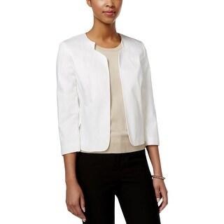 Tahari ASL Womens Basic Jacket Collarless 3/4 Sleeve