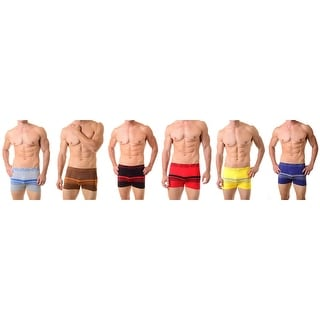 Classic Boxer Briefs Shorts Seamless Underwear  6-Pack for Men with Stripes (One Size)