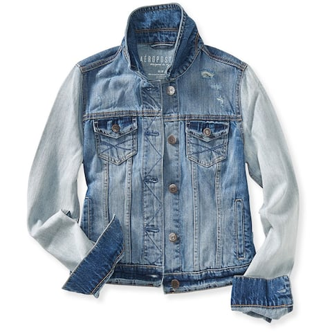 Aeropostale Womens Classic Cropped Denim Vest, Blue, X-Small
