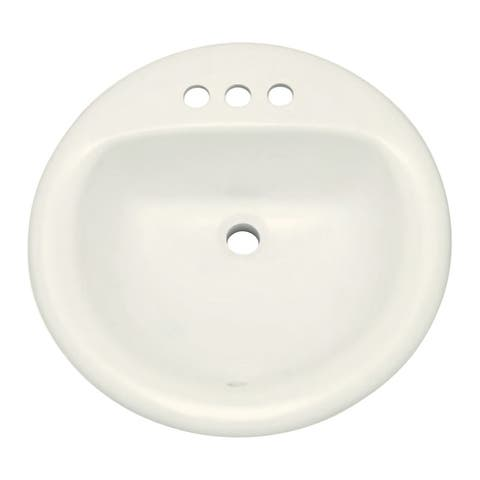 "PROFLO PF194R 19"" Round Drop in Vitreous China Sink with 3 Holes and"