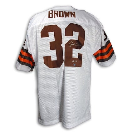 quality design 8fa74 fdb80 Autographed Jim Brown Cleveland Browns Throwback White Jersey with HOF 71  Inscription